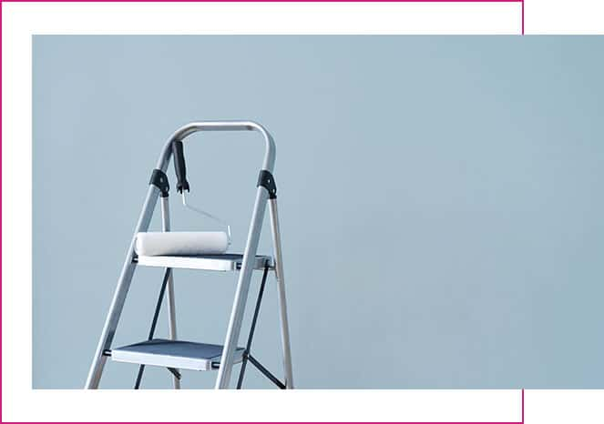 blue background with ladder